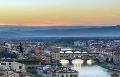 View of Florence with Ponte Vecchio, Italy Royalty Free Stock Images