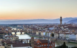 View of Florence with Ponte Vecchio, Italy Royalty Free Stock Photos