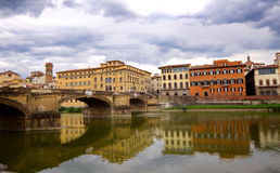 View of Florence from river bank, Florence, Italy. Europe Stock Photography
