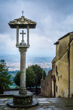 View of Florence from the San Francesco monastery, Fiesole. From the monastery of San Francesco there is a splendid view of Florence in the valley below. The royalty free stock photography