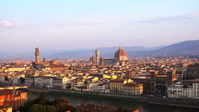 View of Florence at the sunrise time. From the viewpoint stock video