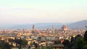 View of Florence at the sunrise time from the viewpoint stock video footage