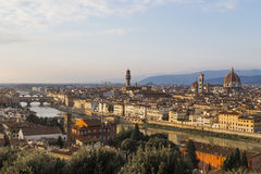 View of Florence at sunset from Piazzale Michelangelo Stock Photos