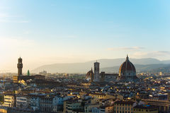 View of Florence after sunset from Piazzale Michelangelo Stock Photo