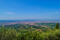 View of Florence from top of Fiesole, Italy. View of Florence and Tuscany fields from top of Fiesole, Italy stock photos