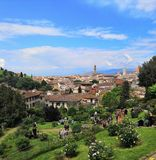 View Florence viewpoint City Italy travel rose Garden flowers trees spring day Garden royalty free stock image