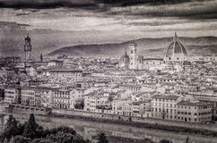 View of Florence in vintage monochrome style Stock Photo