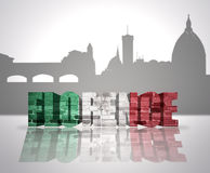 View of Florence. Word Florence with national flag of italy near skyline silhouette Stock Image