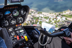 View from flying helicopter Stock Photo