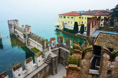 View of fog Lake Garda from the castle, Sirmione, Italy Stock Image