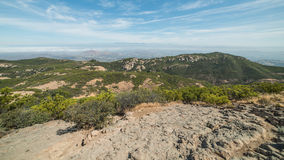 View of Foggy Cities from the Summit of Sandstone Peak, Santa Monica Mountains National Recreation Area, California Stock Photos