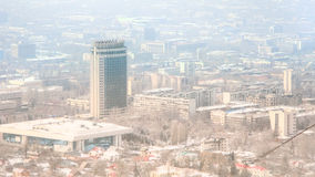 View of the foggy city of Almaty, Kazakhstan Royalty Free Stock Photos