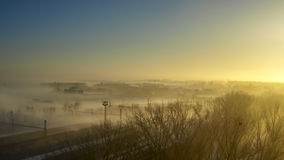 View of fogy city morning Royalty Free Stock Photo