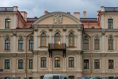 View of the Fontanka River embankment house 46. RUSSIA, SAINT PETERSBURG - AUGUST 18, 2017: View of the Fontanka River embankment house 46 Royalty Free Stock Image
