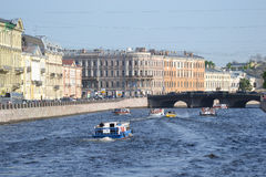 View of the Fontanka River in Saint Petersburg Stock Photos