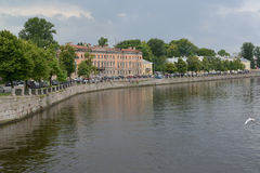 View of Fontanka River in storm summer day. St. Petersburg Royalty Free Stock Photo