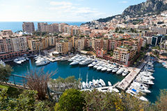 View of Fontvieille and harbour in Monac Stock Images