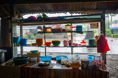 View on food stand with varity of kitchenware Stock Photography