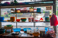 View on food stand with varity of kitchenware Stock Photos