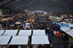 View of the Foodfestival 2015 from above the food market. Amsterdam, the Netherlands - November 29, 2015: The busy Europe Complex (Europahal) viewed from the Royalty Free Stock Photography
