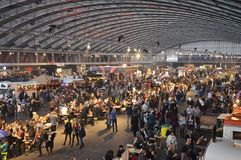 View of the Foodfestival from the north mezzanine. Amsterdam, the Netherlands - November 29, 2015: The central section of the busy Europe Complex (Europahal) Royalty Free Stock Photo