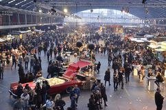 View of the Foodfestival from the North-West Mezzanine. Amsterdam, the Netherlands - November 29, 2015: The crowded north corridor and the Fatdog bar in the Royalty Free Stock Image