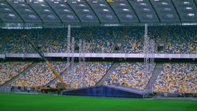 View on the football stadium with workers. stock footage