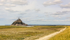 The Path to Mont Saint Michel Abbey Royalty Free Stock Photo
