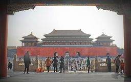 A view of a Forbidden city's gate from inside stock images