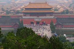 View of the Forbidden City on The Gate of Divine Might, royalty free stock images