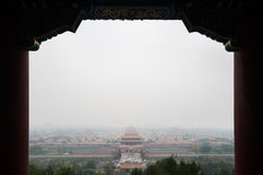 View of the Forbidden City from Jingshan Park on a polluted day in Beijing, China Stock Image