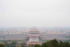 View of the Forbidden City shrouded in pollution from Jingshan Park, Beijing Stock Image