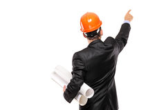 View of a foreman in suit pointing Stock Photos