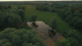 View of forest, lake and country houses against blue sky with sun and clouds in sunset at summer, Russia. Aerial flight above the countryside in Russia. View of stock footage