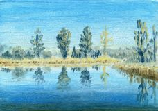 View of the forest lake on a sunny spring day. Blue sky and reflection of trees in the water. Oil painting on canvas Stock Photo