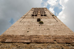 View form below of a medieval italian tower bell. Royalty Free Stock Image