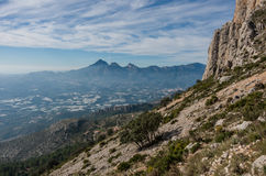 View form slope of Sierra de Bernia mountains range, near Benido Royalty Free Stock Photography
