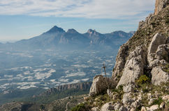 View form slope of Sierra de Bernia mountains range, near Benido Royalty Free Stock Images