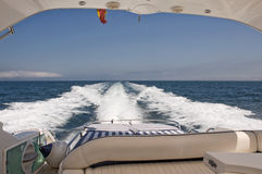 View form the stern of a Motorboat. The view from the stern of a Motorboat at sea Stock Images