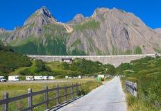 View of formazza valley,morasco dam Royalty Free Stock Photos