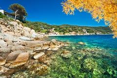 Forno Beach, Elba island, Italy. View of Forno Beach in the Biodola Bay on a sunny day, Elba island, Italy stock image
