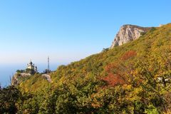 View of Foros Church and Foros Mountain in the autumn. View of Foros Church, also known as The Church of Christ`s Resurrection, and Foros Mount from road through royalty free stock photo