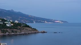 The view from foros in the Eastern part of the coastline in the night lights 3. The view from foros in the Eastern part of the coastline royalty free stock image