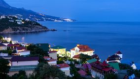 The view from foros in the Eastern part of the coastline in the night lights 5. The view from foros in the Eastern part of the coastline royalty free stock photos