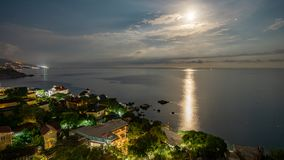 The view from foros in the Eastern part of the coastline in the night lights 6. The view from foros in the Eastern part of the coastline royalty free stock image