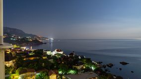 The view from foros in the Eastern part of the coastline in the night lights 10. The view from foros in the Eastern part of the coastline royalty free stock photo