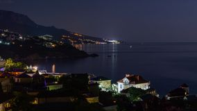 The view from foros in the Eastern part of the coastline in the night lights 7. The view from foros in the Eastern part of the coastline stock photography
