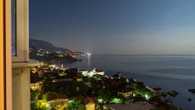 The view from foros in the Eastern part of the coastline in the night lights 8. The view from foros in the Eastern part of the coastline stock images