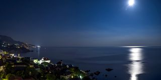 The view from foros in the Eastern part of the coastline in the night lights 9. The view from foros in the Eastern part of the coastline stock photo