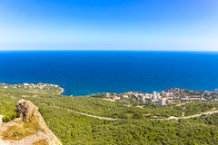 View on Foros town coastal landscape. Crimea, Russia stock photography